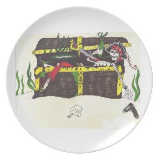 Placa del tesoro del hombre muerto plato para fiesta