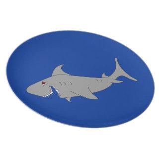 Placa del tiburón plato de cena