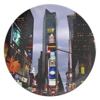 Placa del Times Square de los recuerdos de la plac Platos