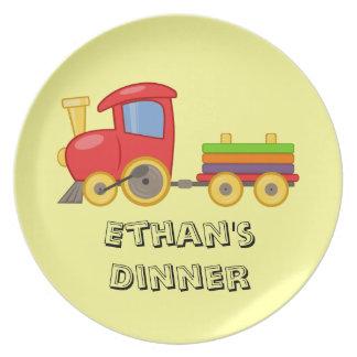 Placa del tren del niño personalizado plato de cena
