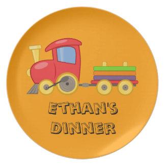 Placa del tren del niño personalizado platos de comidas