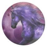 Placa del unicornio plato de cena