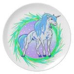 Placa del unicornio plato para fiesta