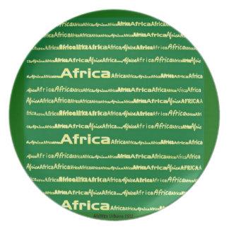 Placa del verde del texto de AfriMex Urbano África Plato De Cena