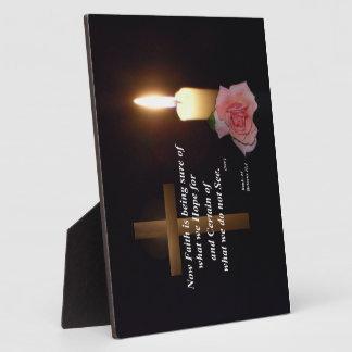 Placa del verso de la biblia de la fe y de la