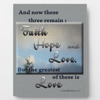 Placa del verso de la biblia del amor de la espera
