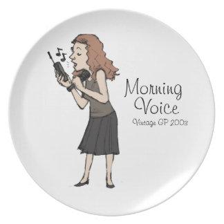 Placa del vintage de la voz de la mañana plato