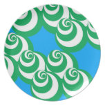 Placa del vórtice (azul/verde) plato de comida