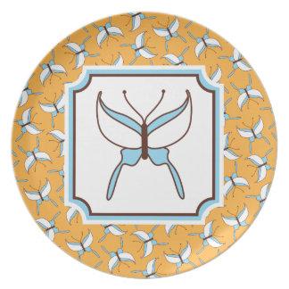 Placa del vuelo de la mariposa - melón plato para fiesta