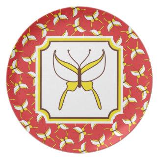Placa del vuelo de la mariposa - rojo platos