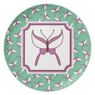 Placa del vuelo de la mariposa - verde menta plato de cena