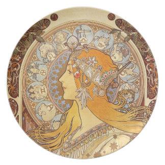Placa del zodiaco con un diseño del nouveau del plato