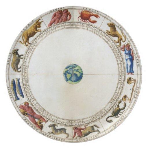 Placa del zodiaco plato de cena