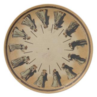 Placa del zoopraxiscope de los bailarines plato de cena
