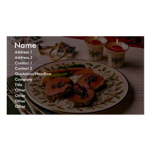 Placa deliciosa de la carne de vaca del día de fie tarjetas de visita