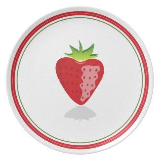Placa deliciosa de la fresa plato