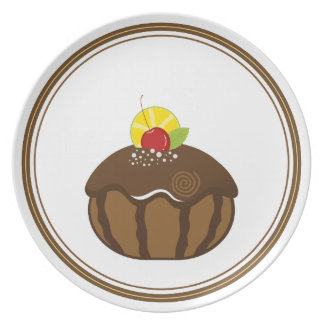 Placa deliciosa de la torta platos para fiestas