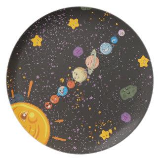 Placa divertida de la cocina de los planetas de la plato de comida