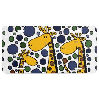 Placa divertida del arte de la familia de la jiraf placa de matrícula