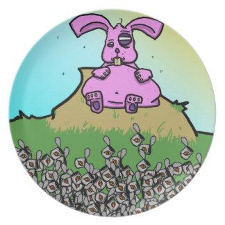 Placa divertida del conejito para los niños platos de comidas