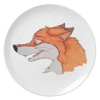 Placa divertida del Fox Plato De Cena