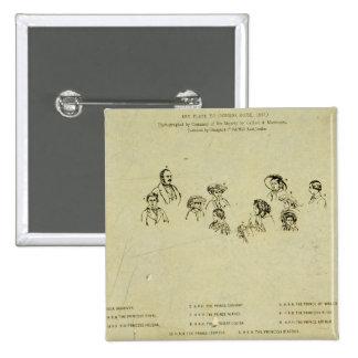 Placa dominante al retrato de la familia real en O Pin Cuadrada 5 Cm