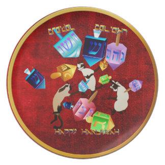 Placa Dreidels-indicada con letras deliciosa Platos Para Fiestas