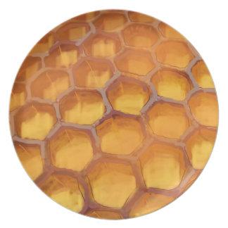 Placa dulce de la miel del dibujo del panal plato