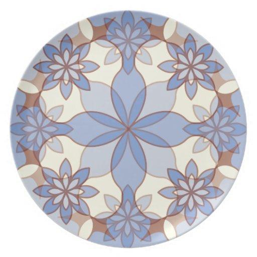 Placa dulce de las guirnaldas - azul plato de comida
