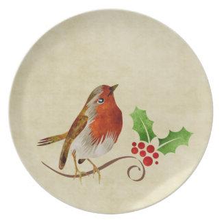 Placa dulce del navidad del petirrojo plato de cena