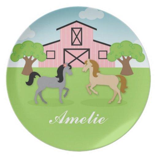 Placa ecuestre personalizada de los caballos plato