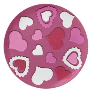 Placa el día de San Valentín Plato De Cena