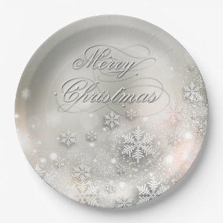 Placa elegante del copo de nieve del día de fiesta plato de papel de 9 pulgadas