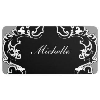 Placa elegante del monograma de las señoras placa de matrícula