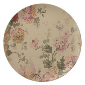 Placa elegante lamentable del follaje platos de comidas
