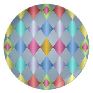 Placa en colores pastel brillante del modelo del d plato de cena