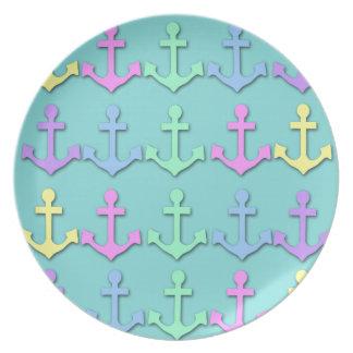 Placa en colores pastel del modelo del ancla plato