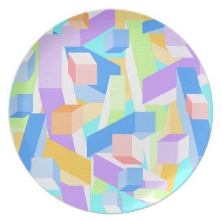 Placa en colores pastel del modelo del bloque de l platos para fiestas