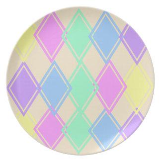 Placa en colores pastel del modelo del diamante platos para fiestas
