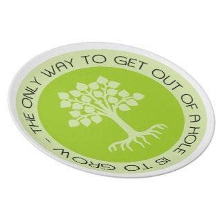 Placa Encouraging del árbol del verde de la cita Plato Para Fiesta