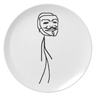 Placa épica del individuo del fall platos