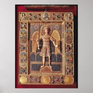 Placa esmaltada que representa el arcángel Michael Póster