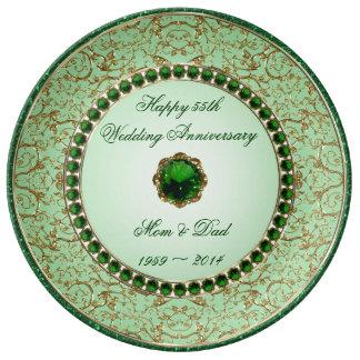 Placa esmeralda de la porcelana del aniversario de platos de cerámica