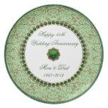 Placa esmeralda del aniversario de boda plato para fiesta