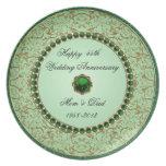 Placa esmeralda del aniversario de boda platos