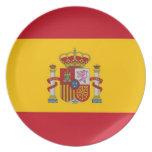 Placa española de la bandera platos para fiestas
