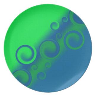 placa espiral azul platos para fiestas
