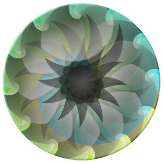 Placa espiral de la porcelana del tiburón plato de cerámica