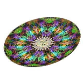 Placa espiritual de oro del arte de Aum de la mand Platos Para Fiestas