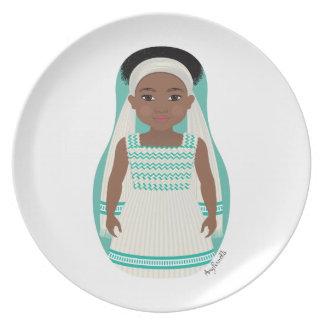 Placa etíope de Matryoshka del chica Plato